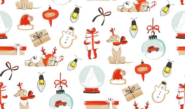 Hand getrokken, merry christmas-tijd, elementen naadloos patroon.