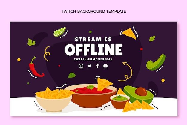 Hand getrokken mexicaans eten twitch achtergrond