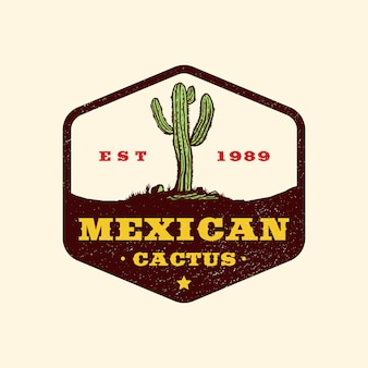 Hand getrokken mexicaanse wild west badge-logo
