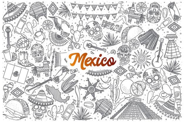 Hand getrokken mexico doodle set achtergrond met oranje letters