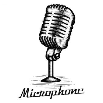 Hand getrokken microfoon