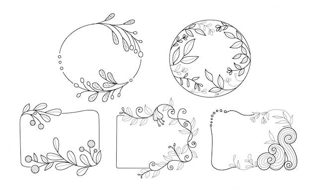 Hand getrokken minimale bloem frame