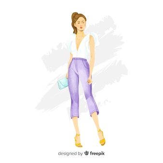 Hand getrokken mode vrouw illustratie