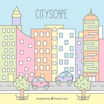Hand getrokken moderne stad achtergrond in pastel kleuren