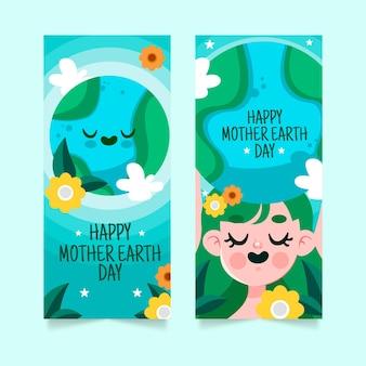 Hand getrokken moeder aarde dag banner set