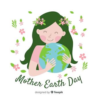 Hand getrokken moeder aarde knuffelen planeet achtergrond
