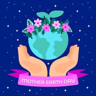Hand getrokken moeder aarde met lint