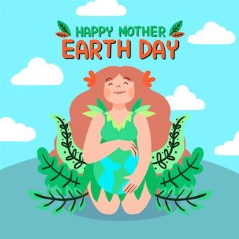Hand getrokken moeder aarde met vrouw en bladeren
