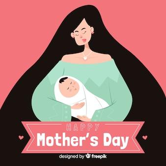Hand getrokken moeder en baby moederdag dag achtergrond