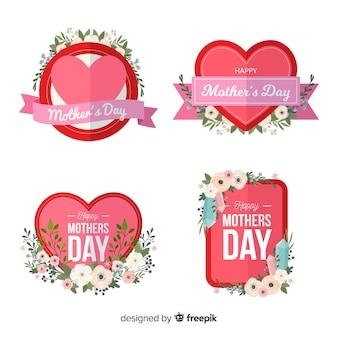 Hand getrokken moederdag badge-collectie