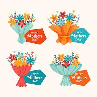 Hand getrokken moederdag badge collectie