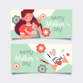 Hand getrokken moederdag banners instellen