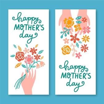 Hand getrokken moederdag banners