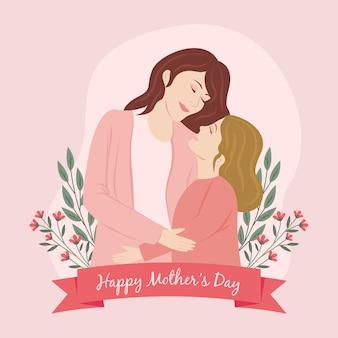 Hand getrokken moederdag illustratie met moeder en dochter