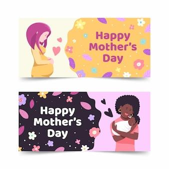 Hand getrokken moeders dag banners sjabloon