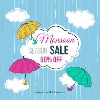 Hand getrokken moesson seizoen verkoop samenstelling