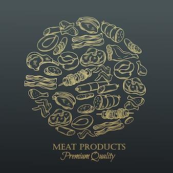 Hand getrokken monochroom pictogram vlees instellen
