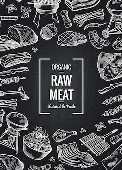 Hand getrokken monochroom vlees elementen verzameld samen met plaats voor tekst op zwart schoolbord