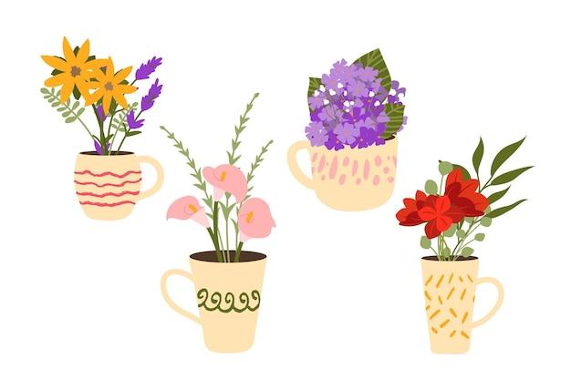 Hand getrokken mooie bloemenset