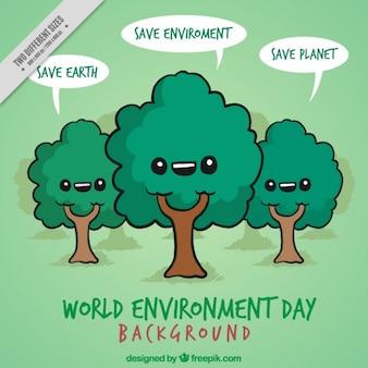 Hand getrokken mooie bomen met sparen planeet boodschappen achtergrond