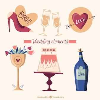 Hand getrokken mooie bruiloft elementen