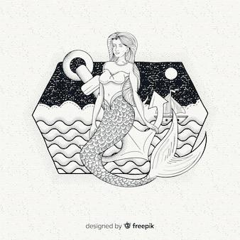 Hand getrokken mooie zeemeermin achtergrond