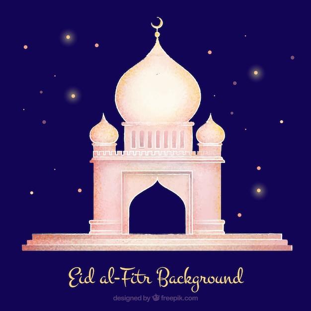 Hand getrokken moskee op een sterrenhemel achtergrond van eid-al-fitr