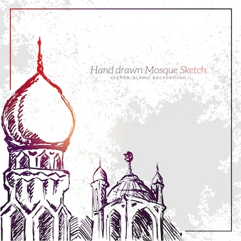 Hand getrokken moskee schets illustratie