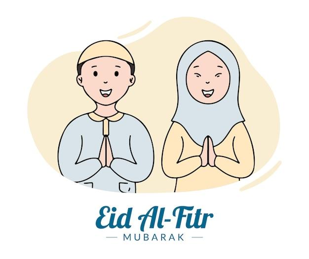Hand getrokken moslimfamilie viert eid al fitr mubarak-illustratie