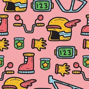 Hand getrokken motorfiets doodle patroon ontwerp illustratie