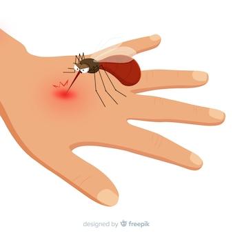 Hand getrokken mug bijt een hand