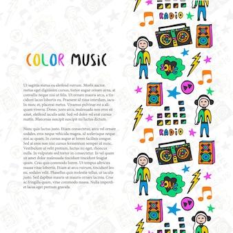 Hand getrokken muziek grens. muziek schets kleurrijke pictogrammen. sjabloon voor folder, spandoek, poster, brochure, dekking