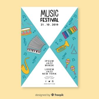 Hand getrokken muziekfestivalaffiche