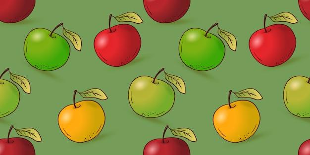 Hand getrokken naadloos appelpatroon