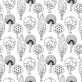 Hand getrokken naadloze patroon met abstracte doodle bomen