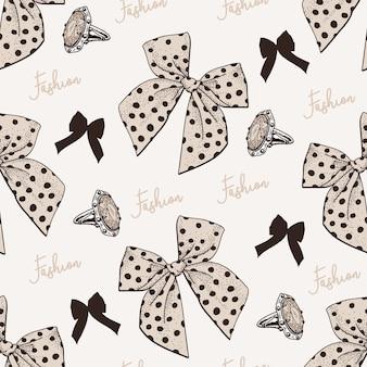 Hand getrokken naadloze patroon met bow.cdr