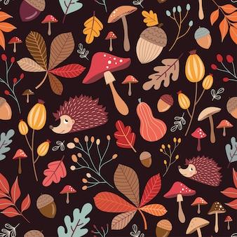 Hand getrokken naadloze patroon met schattige elementen