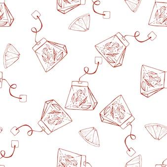 Hand getrokken naadloze patroon met thee en citroen