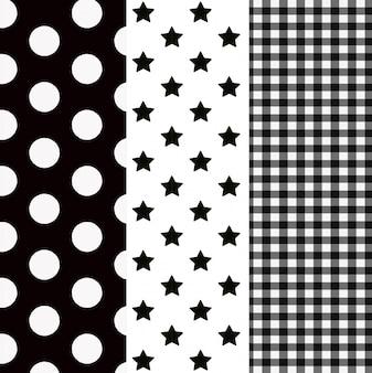 Hand getrokken naadloze patroon set
