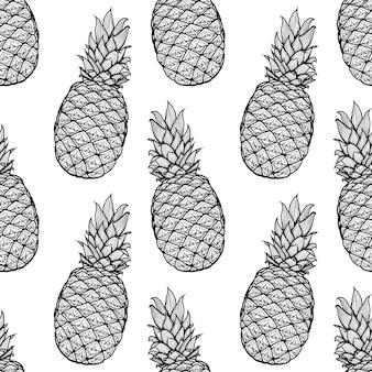 Hand getrokken naadloze patroon van ananas. illustratie. eindeloos beeld. tekening. schetsen.