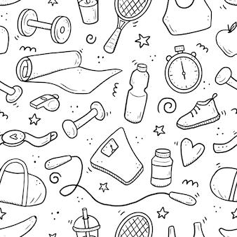 Hand getrokken naadloze patroon van fitness gym apparatuur doodle schets stijl sport element getekend door digitale brushpen illustratie voor frame pictogramachtergrond