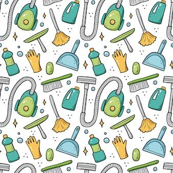 Hand getrokken naadloze patroon van het schoonmaken van apparatuur, spons, vacuüm, spray, bezem, emmer. doodle schets stijl. schoon element getekend door digitale brush-pen. illustratie voor achtergrond, behang, banner.