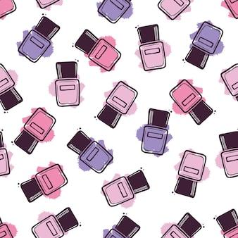 Hand getrokken naadloze patroon van schoonheid nagellak