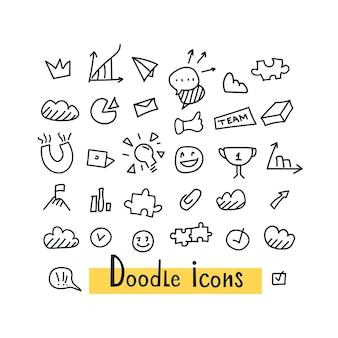 Hand getrokken naadloze set doodle patroon met zakelijke symbolen