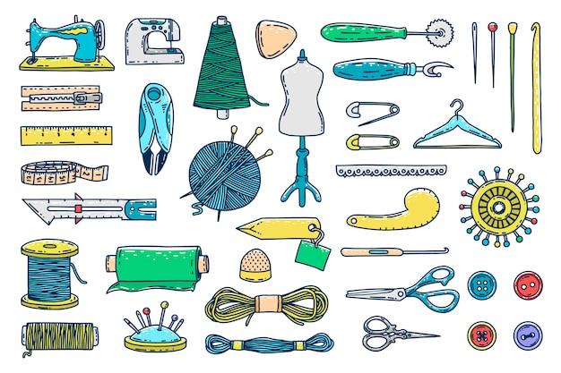 Hand getrokken naaien pictogrammen