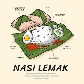 Hand getrokken nasi lemak geïllustreerd