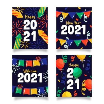 Hand getrokken nieuwe jaar 2021 kaartencollectie