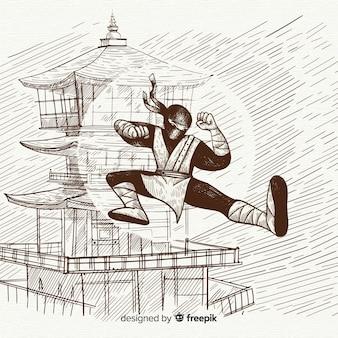 Hand getrokken ninja achtergrond