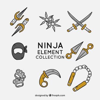 Hand getrokken ninja element collectie