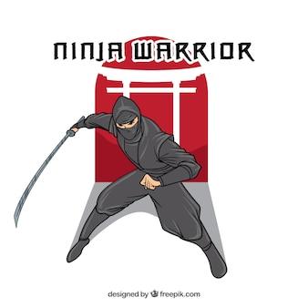 Hand getrokken ninja karakter achtergrond